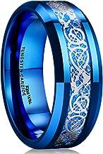 King Will Dragon 8mm Mens Celtic Dragon Tungsten Carbide Wedding Band Ring Black/Gold/Rose Gold/Blue/Opal/Green