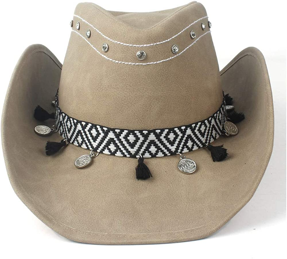 sun hat Men Women Indefinitely 100% Leather Ribbon Max 60% OFF Jazz Brim Hat Cowboy Roll