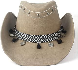 LiWen Zheng Fashion Men Women 100% Leather Cowboy Hat Ribbon Roll Brim Fedora Hat Jazz Hat