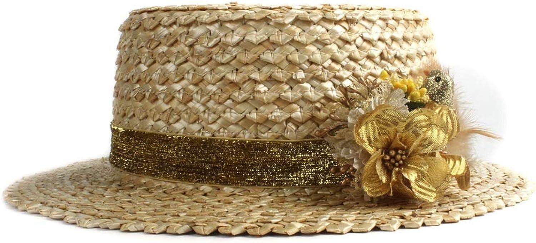 Sun Hat Straw Summer Beach Solid color Flower Feather Decoration Ladies Hat Ladies Flat Round Head Hat Fashion