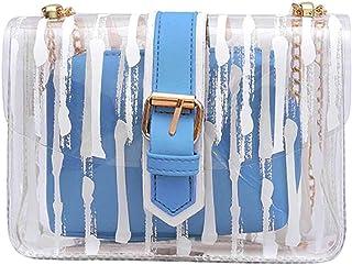 Wultia - Bags for Women Women Messenger Striped Crossbody Bag Chains Candy Color Jelly Bag 2Pcs Handbag Bolsa Feminina Blue