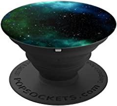 Cool Boys Galaxy Black White Blue Teal Green Nebula Designs - PopSockets Grip and Stand for Phones and Tablets