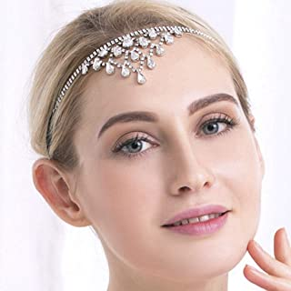 Yean Bridal Headdress Wedding Headband Silver Crystal Headpiece Forehead Jewelry for Brides and Bridesmaids