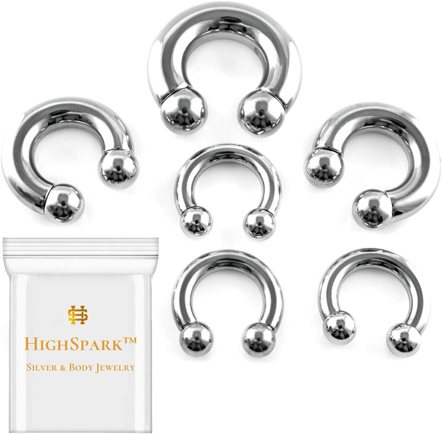 HighSpark Circular Barbell Horseshoe PA Ring | 316L Surgical Steel | 00G 0G 1G 2G 4G 6G 8G 10G 12G 14G 16G 18G | Many Sizes 6mm to 19mm