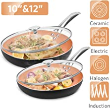 """10""""+12"""" Nonstick Frying Pan Sets with Lids - Ultra Nonstick Cookware Sets with Ceramic Coating, 100% APEO & PFOA-Free, Ove..."""