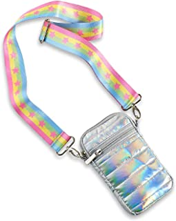 Top Trenz cross body Puffer Cell Phone Bag holder & masks pouch (iridescent puffer with pastel stripes and pink stars)