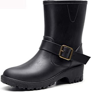 Wellington Boots for Women Ladies Mid Calf PVC Rain Boots Boots Garden Shoes Rubber Boots Outdoor Mud Slip Resistant Shoes...