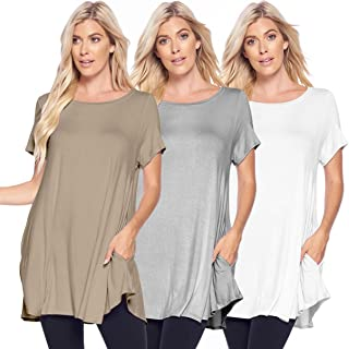 Isaac Liev Women's 3-Pack Flowy Short Sleeve Tunic Top