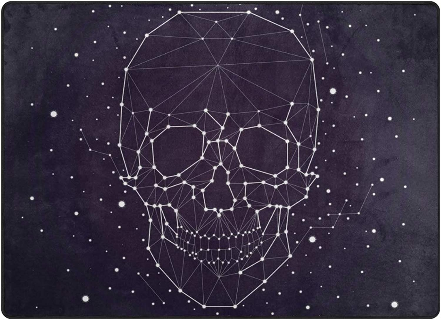 SUABO Halloween Area Rug 80 x 58 inches Non-Slip Floor Mat with Cool Skull Printed Doormats