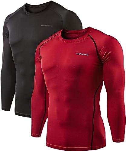 DEVOPS 2 Pack Men's Thermal Long Sleeve Compression Shirts