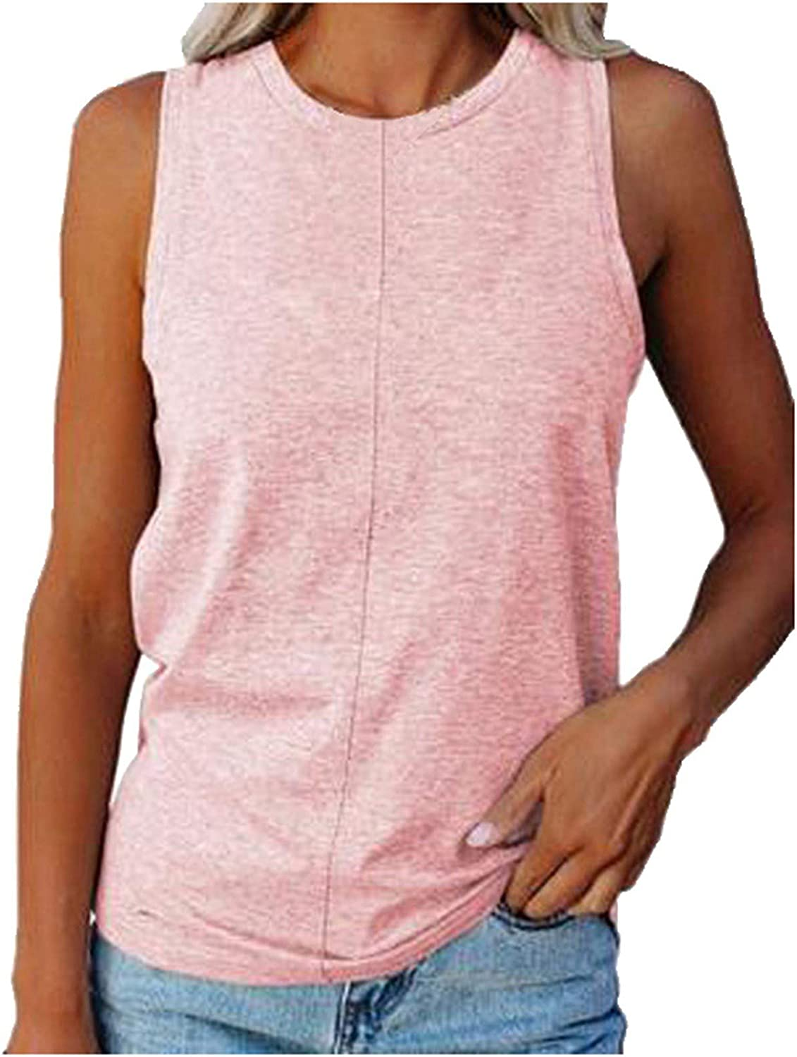 NKAA Women Summer O-Neck Sleeveless Tops Casual Solid Color Slim Fit Loose Blouse