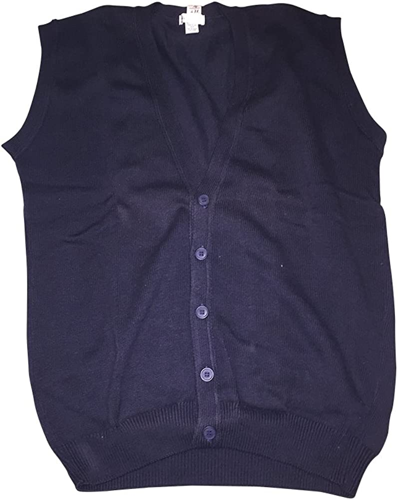 Big and Tall Textured Cotton Black Sleeveless Cardigan Sweater Vests USA Made