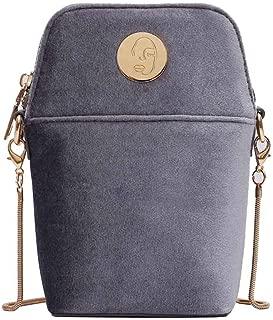 LONGDAY Women Velvet HandbagCrossbody Bag Cell Phone Purse Small Shoulder Bag Travel Wallet with Chain Strap