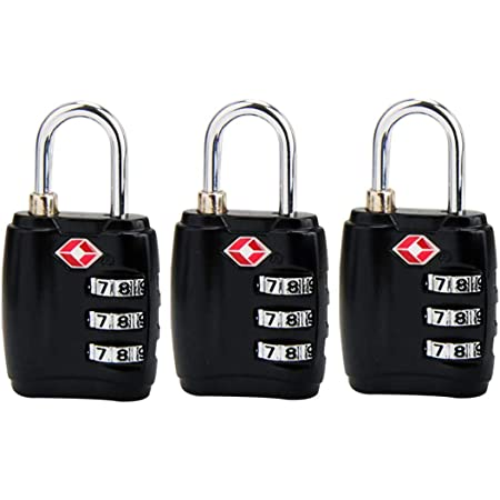 RST-203 3 Digit TSA Aprroved Travel Lock,High Security Padlock,Set Your Own Combination for Suitcase Luggage Backpacks,3 Pack,Black
