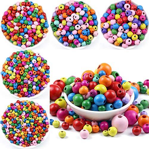 6 ~ 500 cuentas de madera multicolor espaciador 4/6/8 mm redondas de madera para hacer joyas bebé sonajero chupete rebordear hallazgos - 5 x 6 mm 300 piezas