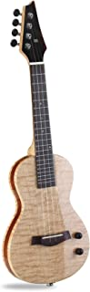 """Moozica 24"""" Electric Concert Ukulele, Top Quality Flame Maple EQ Electric Ukelele With High-gloss Lacquer Finishing"""