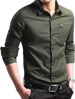 Men's Casual Slim Fit Shirt Cotton Long Sleeve Button Down Dress Shirt