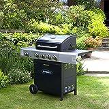 Outback Meteor Hooded Barbecue 4 Burner Gas BBQ with Side Burner - Dark Blue