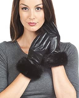 frr Mink Trim Wool Lined Leather Gloves