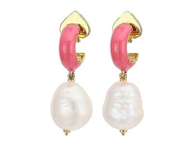Kate Spade New York Candy Drops Enamel Pearl Drop Huggies Earrings (Coral) Earring