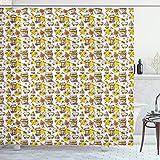 ABAKUHAUS Skizzieren Duschvorhang, Honig-Gläser Drops & Bienen, Waschbar & Leicht zu pflegen mit 12 Haken Hochwertiger Druck Farbfest Langhaltig, 175x240 cm, Weißer Senf Ingwer