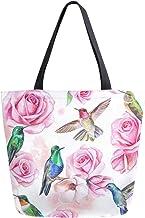 HMZXZ RXYY Blumen- Blume Roses HummingVogel Segeltuch Tasche Schwer Pflicht Groß Frauen Beiläufig Schulter Tasche Handtasche Wiederverwendbar Einkaufen Tasche Bag für Draußen Reise