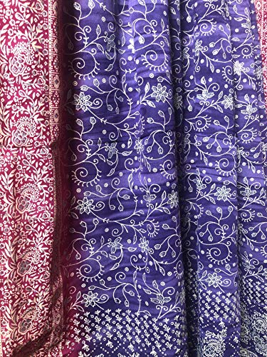 Light-Filtering Sari Colorful Curtains – Boho Curtains, Bed Canopy Panel, Wall Tapestry or Window Treatment for Bedroom or Living Room, Indian Print Curtains + Tote Bag, 42x84 in. (Purple Pink, 1)