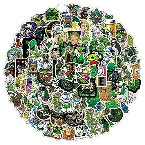 100PCS 50/100 unids / 108pcs Marihuana Stickers Stickers Portátil Guitarra Equipaje Impermeable A Estética Weed Graffiti Decal Packers Packs Kid Toy estéticas (Color : Marijuana 100PCS)