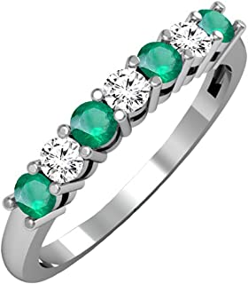 Dazzlingrock Collection 14K Ladies 7 Stone Bridal Wedding Band Anniversary Ring, White Gold