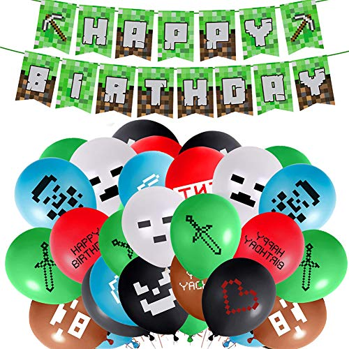 Gaming Theme Partyzubehör, Minecraft Deko Geburtstag Einschließlich Happy Birthday Banner Video Game Party Luftballons Flache Bänder für Miner Gamer Party Favors Videospiel Zubehör