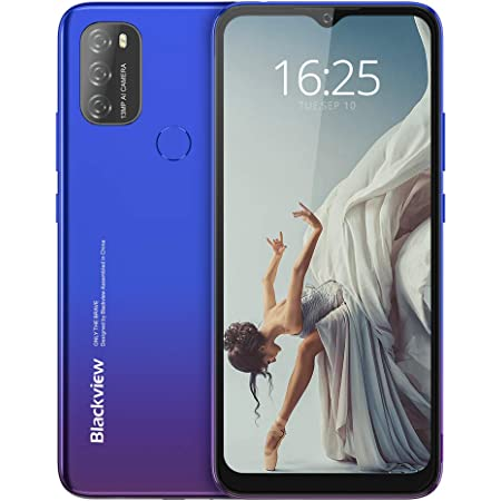 Android 11 Mobile Phone,Blackview A70 4G Smartphones,5380mAh Battery,6.517 inches Waterdrop HD+ Screen,13MP Triple Camera,3GB+32GB Octa-Core Dual SIM Phones Unlocked,Fingerprint,Face ID,GPS-Blue