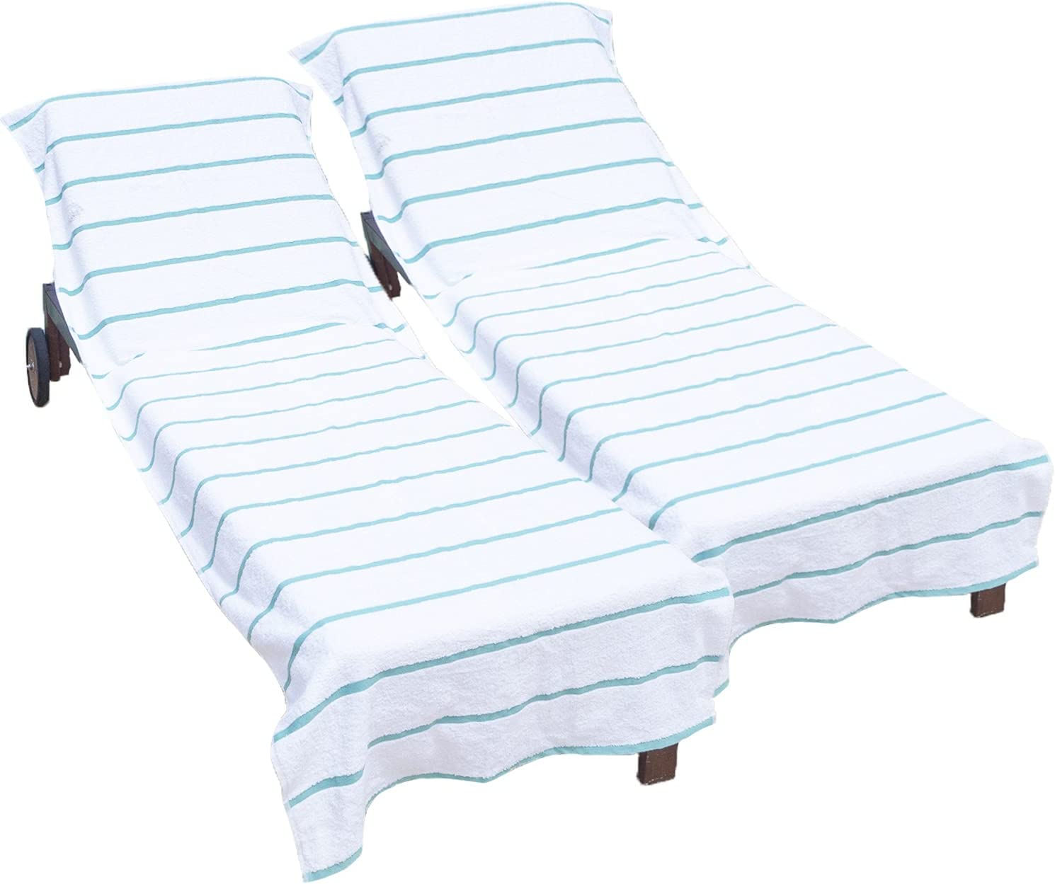 Arkwright Pool Chair Covers (Oversized:30x85 Inch, 2-Pack), Cotton Chaise Lounge Cover with 8 Inch Deep Pocket to Fit Any Beach Chair (Green)