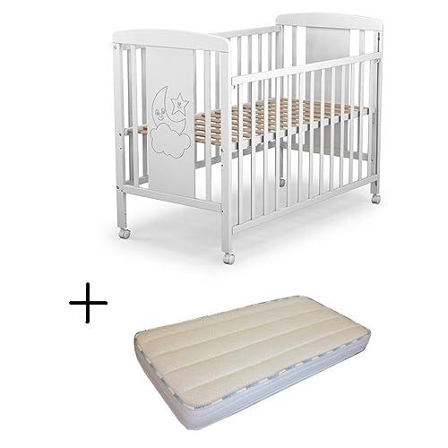 Cuna para bebé, modelo cielo Mundi Bebé + Colchón Viscoelástica + Protector de colchón impermeable
