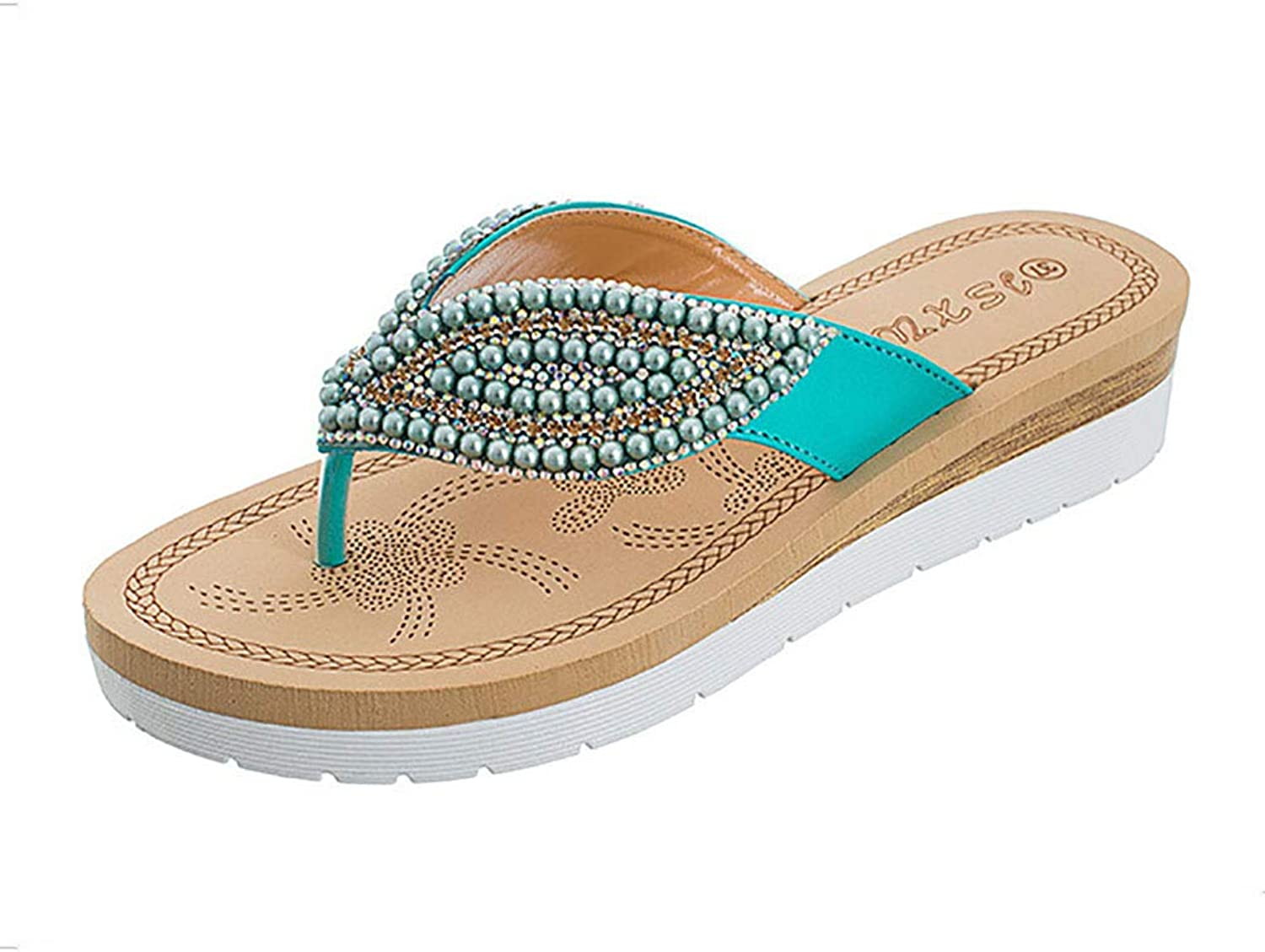 WL Women's Thong Slippers Bohemia Rhinestone Flip Flops Sandals Comfy Lightweight Summer shoes for Beach Pool Bathroom,36-42