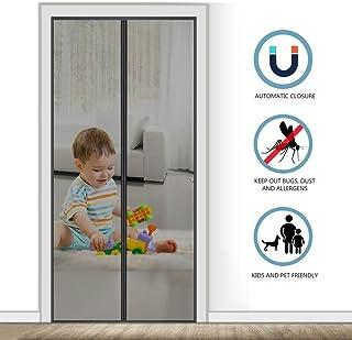 AMCER Cortina Mosquitera para Puertas 75x210cm Cortina Magnética para Puerta, Adsorción magnética Plegable, Fácil de Instalar, Negro