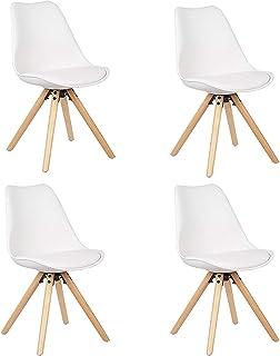 WV LeisureMaster Silla Nórdica (Pack 4) - Silla Scandi Blanca - Silla Nordic Escandinava - Topic - (Elige tu Color)