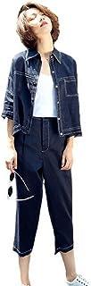 (ニカ)レディース パンツスーツ トップス 2点セット 7分パンツスーツ お洒落 着痩せ薄手 麻 トップス スーツ ファッション