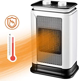 Warm & Life Calefactor Cerámico 1500W Calentador de Espacio Eléctrico Portátil Personal para Cuarto Baño Oficina, Oscilación Automática, 3 Modos de contra Viento,Cuatro Estaciones universales,Blanco