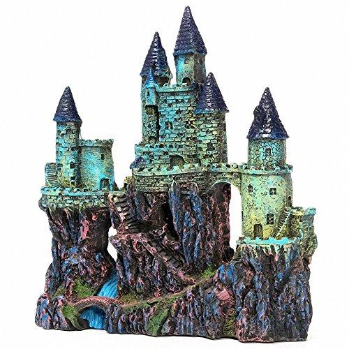 Aquarium Decorations Wizard's künstliche Burg Steingarten handbemalt mit realistischen Details Aquarium Landschaft Ornament über 10 Zoll hoch