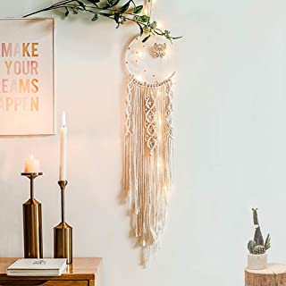 LOMOHOO Macrame Wall Hanging Dream Catcher Woven Moon and Owl Half Circle Moon Design Dream Catcher Boho Chic Bohemian Home Decoration Ornament Craft (Moon and owl)