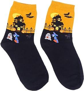 BESTONZON Calcetines Estilo Halloween Calcetín Tobillo de algodón para Mujer Dama Niñas (Amarillo Naranja)
