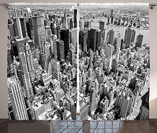 3D Cortinas Opacas,Diseño De Impresión Digital Cortinas Verticales Distintivas, Impresión De Vista A La Ciudad De Nueva York Simple Cortinas De Ojal Elegante Aislamiento Transpirable, Para La Sala