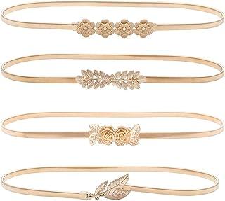 HaoPiDai العلامة التجارية أحزمة ذهبية للنساء فستان رفيع فاخر خصر مطاطي سلسلة معدنية من تصميم Designer