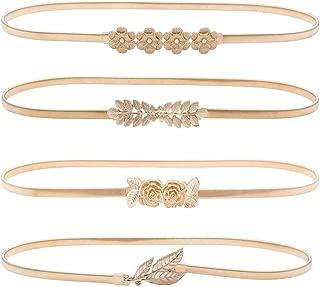 HaoPiDai Brand Gold Belts For Women Dress Skinny Luxury Elastic Waist Metal Chain By Designer