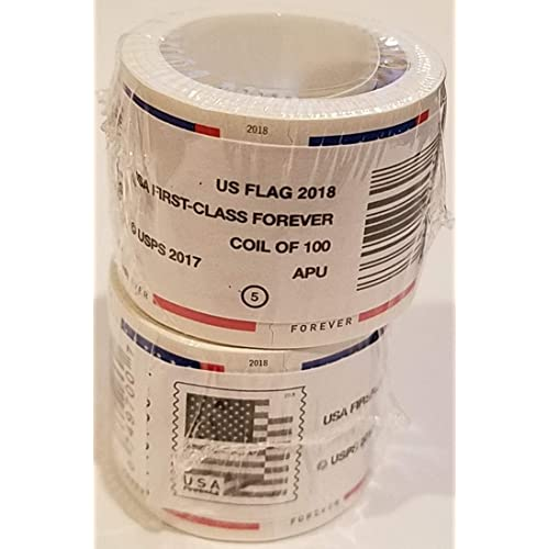 USPS U.S. Flag Forever Stamps - Two Rolls of 100 (200 Stamps total) - 2018 Version