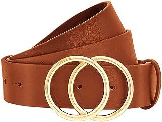 Women Leather Belt-Womens Jeans Belt-Women Pants Belt-Dress Belt, Ladies Skinny Leather Belts with Alloy