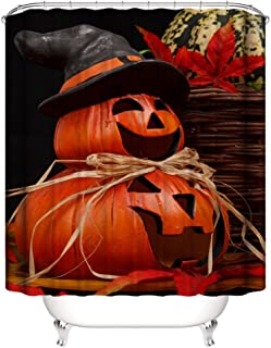 Muuyi Pumpkin Decorations Collection, Witch Hat Design Skeletons All Saints Day Halloween Pumpkin Day Picture, Polyester Fabric Bathroom Shower Curtain Set with Hooks - 72×72 Inches