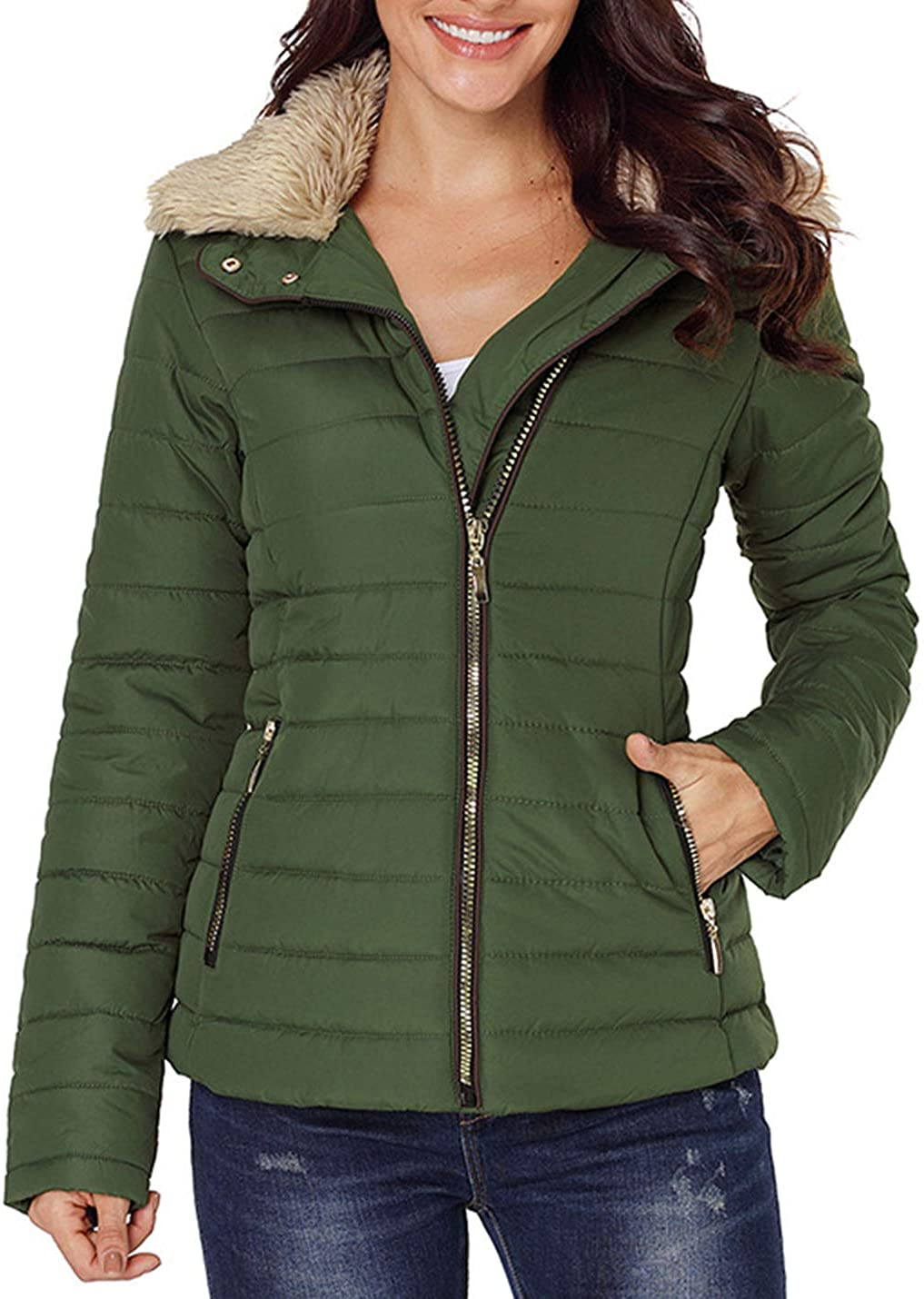Yimoon Women's Zip Up Slim Fit Faux Fur Collar Padded Quilted Coat Jacket Outerwear
