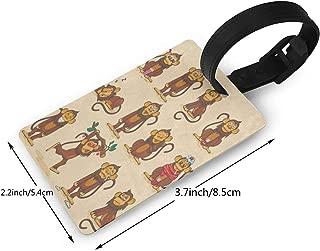 PTzaizheli Luggage Tags Custom Cartoon Monkey Emoji Smiley PVC Suitcase Labels Travel Accessories ID Labels (1pcs) Luggage Tag
