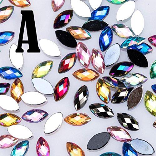 Vernis à ongles pour femmes,Fulltime 500PCS Paillettes oeil de cheval strass 3D nail art décoratif colle acrylique (A)